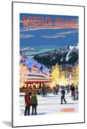 Village Scene - Whistler, Canada-Lantern Press-Mounted Art Print