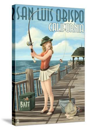 San Luis Obispo, California - Pinup Girl Fishing-Lantern Press-Stretched Canvas Print