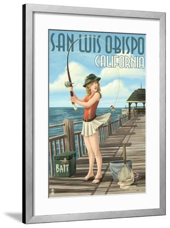 San Luis Obispo, California - Pinup Girl Fishing-Lantern Press-Framed Art Print