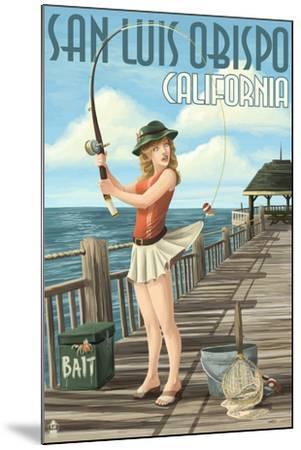 San Luis Obispo, California - Pinup Girl Fishing-Lantern Press-Mounted Art Print