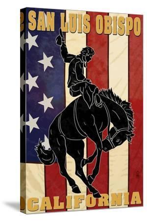 San Luis Obispo, California - Bronco and Star-Lantern Press-Stretched Canvas Print