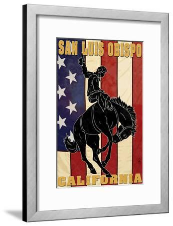 San Luis Obispo, California - Bronco and Star-Lantern Press-Framed Art Print
