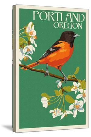 Portland, Oregon - Oriole-Lantern Press-Stretched Canvas Print