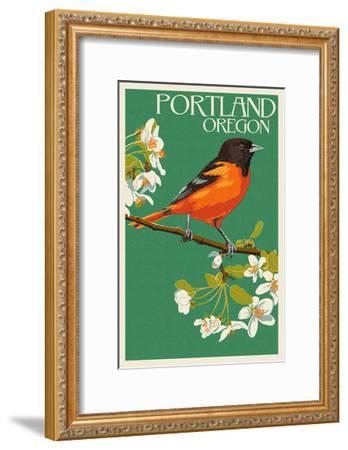 Portland, Oregon - Oriole-Lantern Press-Framed Art Print