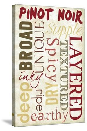 Pinot Noir Typography-Lantern Press-Stretched Canvas Print