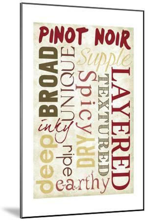 Pinot Noir Typography-Lantern Press-Mounted Art Print