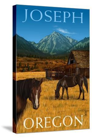 Joseph, Oregon - Horses and Barn-Lantern Press-Stretched Canvas Print