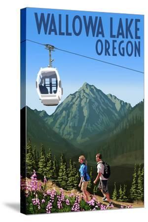 Wallowa Lake, Oregon - Mountain and Gondola-Lantern Press-Stretched Canvas Print