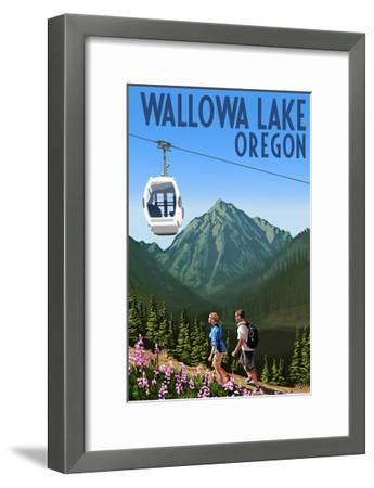Wallowa Lake, Oregon - Mountain and Gondola-Lantern Press-Framed Art Print
