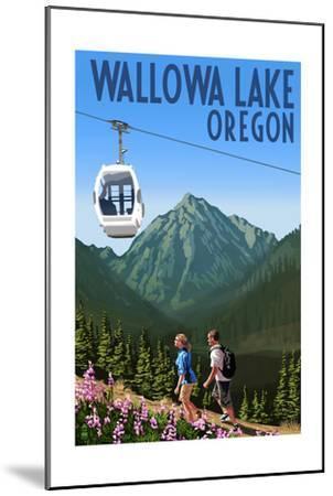 Wallowa Lake, Oregon - Mountain and Gondola-Lantern Press-Mounted Art Print
