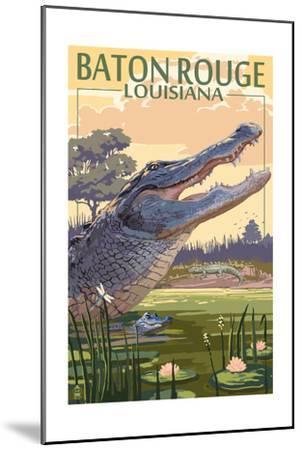 Baton Rouge, Louisiana - Alligator Scene-Lantern Press-Mounted Art Print