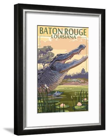 Baton Rouge, Louisiana - Alligator Scene-Lantern Press-Framed Art Print