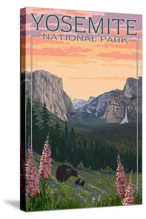 Bears and Spring Flowers - Yosemite National Park, California-Lantern Press-Stretched Canvas Print