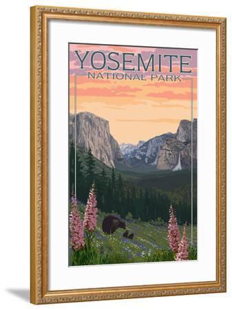 Bears and Spring Flowers - Yosemite National Park, California-Lantern Press-Framed Art Print