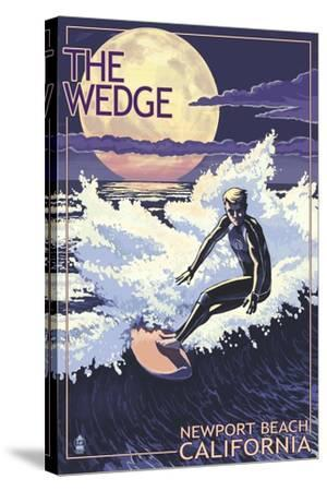 Newport Beach, California - Surfing the Wedge-Lantern Press-Stretched Canvas Print