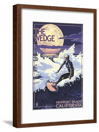 Newport Beach, California - Surfing the Wedge-Lantern Press-Framed Art Print