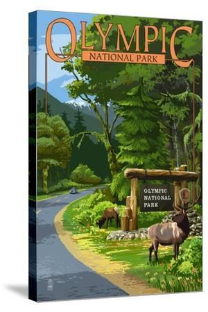 Park Entrance and Elk - Olympic National Park, Washington-Lantern Press-Stretched Canvas Print
