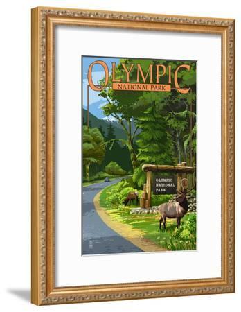 Park Entrance and Elk - Olympic National Park, Washington-Lantern Press-Framed Art Print