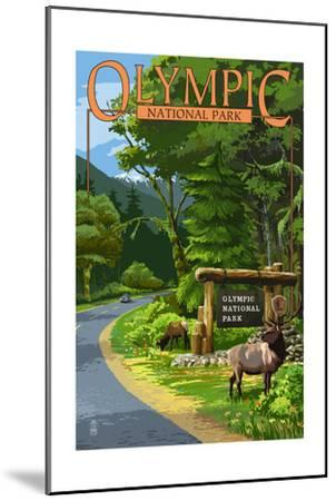 Park Entrance and Elk - Olympic National Park, Washington-Lantern Press-Mounted Art Print