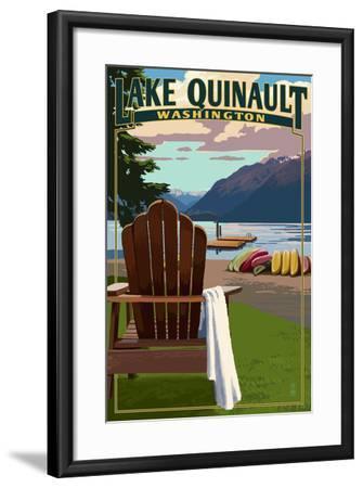 Lake Quinault and Adirondack Chairs - Washington-Lantern Press-Framed Art Print