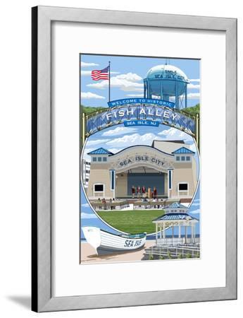 Sea Isle City, New Jersey - Montage-Lantern Press-Framed Art Print