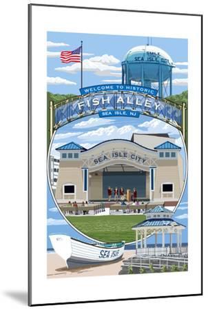 Sea Isle City, New Jersey - Montage-Lantern Press-Mounted Art Print