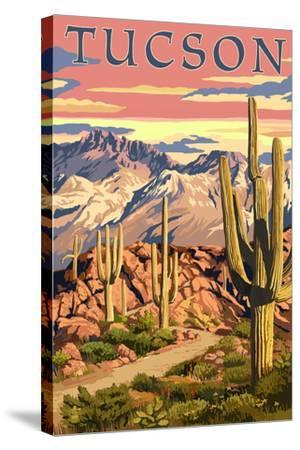 Tucson, Arizona Sunset Desert Scene-Lantern Press-Stretched Canvas Print