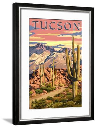 Tucson, Arizona Sunset Desert Scene-Lantern Press-Framed Art Print