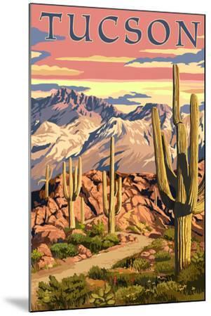 Tucson, Arizona Sunset Desert Scene-Lantern Press-Mounted Art Print
