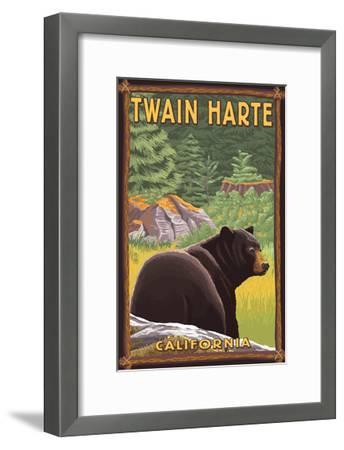 Twain Harte, California - Black Bear in Forest-Lantern Press-Framed Art Print