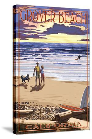 Grover Beach, California - Sunset Beach Scene-Lantern Press-Stretched Canvas Print