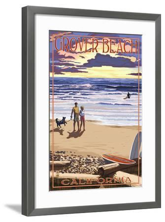 Grover Beach, California - Sunset Beach Scene-Lantern Press-Framed Art Print