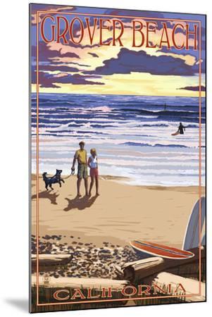 Grover Beach, California - Sunset Beach Scene-Lantern Press-Mounted Art Print