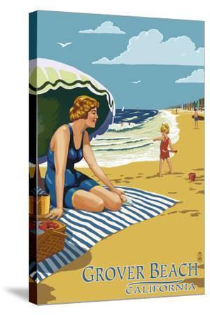 Grover Beach, California Beach Scene-Lantern Press-Stretched Canvas Print