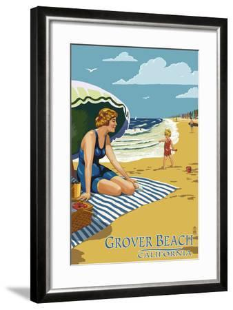 Grover Beach, California Beach Scene-Lantern Press-Framed Art Print