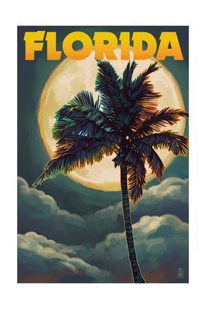 Florida - Palm Tree and Full Moon-Lantern Press-Framed Art Print