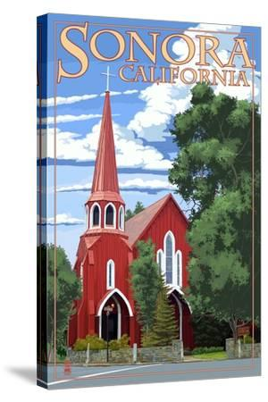 Sonora, California - Red Church-Lantern Press-Stretched Canvas Print