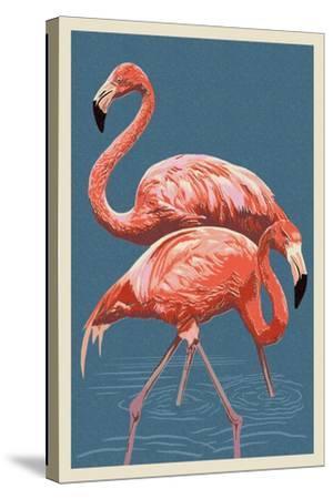 Flamingo-Lantern Press-Stretched Canvas Print