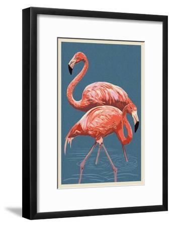 Flamingo-Lantern Press-Framed Art Print