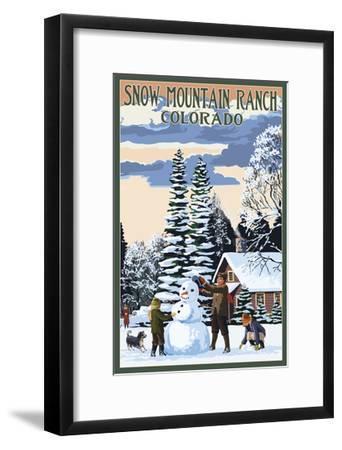 Snow Mountain Ranch, Colorado - Snowman Scene-Lantern Press-Framed Art Print