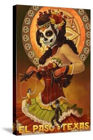 El Paso, Texas - Day of the Dead Marionettes-Lantern Press-Stretched Canvas Print