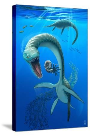 Plesiosaurus Dinosaur-Lantern Press-Stretched Canvas Print