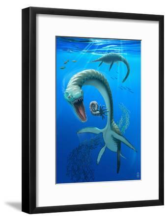 Plesiosaurus Dinosaur-Lantern Press-Framed Art Print