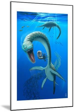 Plesiosaurus Dinosaur-Lantern Press-Mounted Art Print