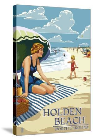 Holden Beach, North Carolina - Woman on Beach-Lantern Press-Stretched Canvas Print