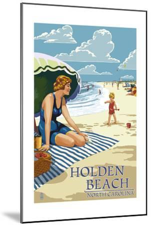 Holden Beach, North Carolina - Woman on Beach-Lantern Press-Mounted Art Print