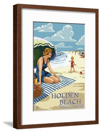 Holden Beach, North Carolina - Woman on Beach-Lantern Press-Framed Art Print