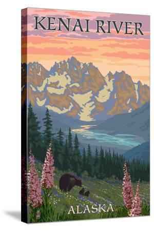 Kenai River, Alaska - Bear Family and Flowers-Lantern Press-Stretched Canvas Print