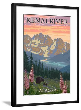 Kenai River, Alaska - Bear Family and Flowers-Lantern Press-Framed Art Print