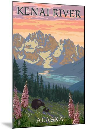 Kenai River, Alaska - Bear Family and Flowers-Lantern Press-Mounted Art Print